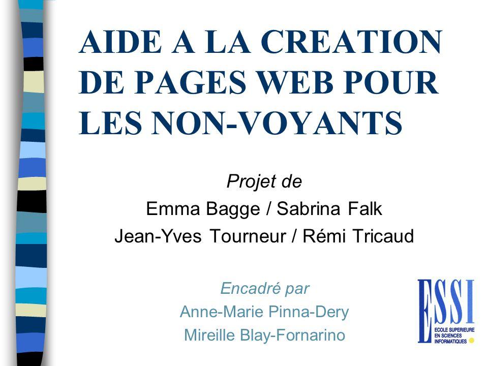 AIDE A LA CREATION DE PAGES WEB POUR LES NON-VOYANTS