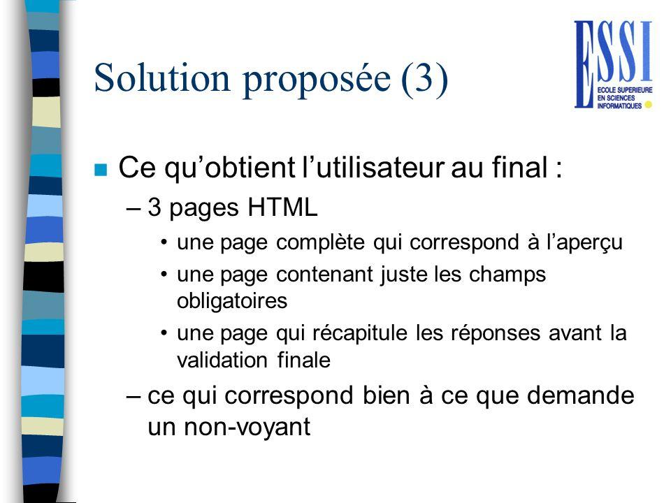 Solution proposée (3) Ce qu'obtient l'utilisateur au final :