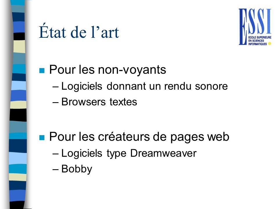 État de l'art Pour les non-voyants Pour les créateurs de pages web