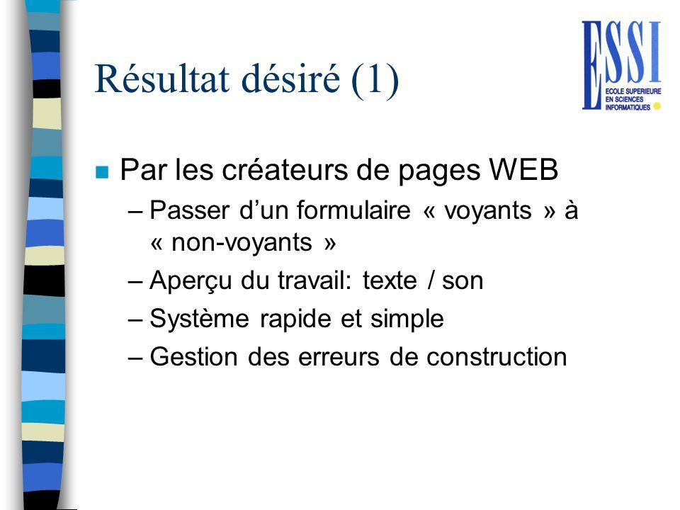 Résultat désiré (1) Par les créateurs de pages WEB