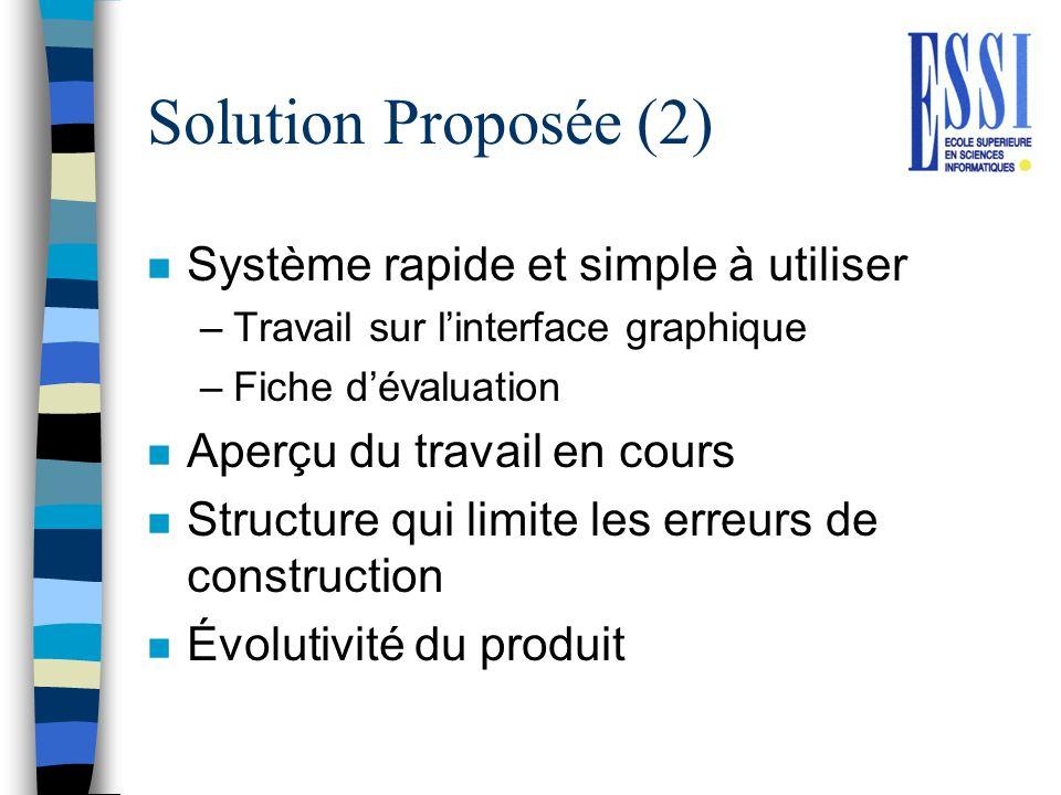 Solution Proposée (2) Système rapide et simple à utiliser