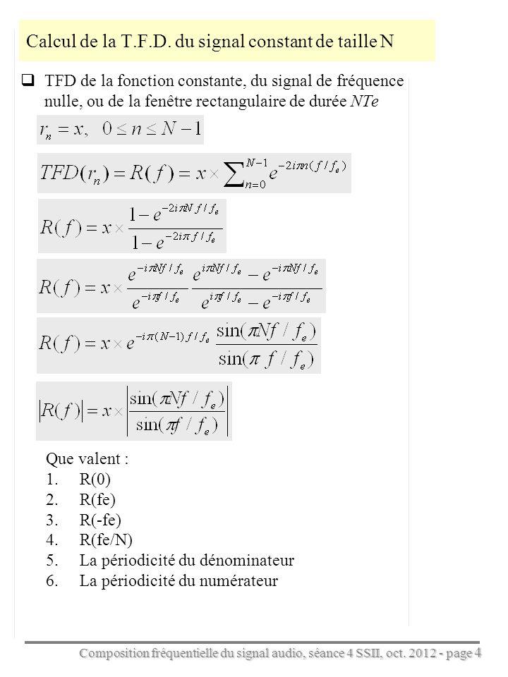 Calcul de la T.F.D. du signal constant de taille N
