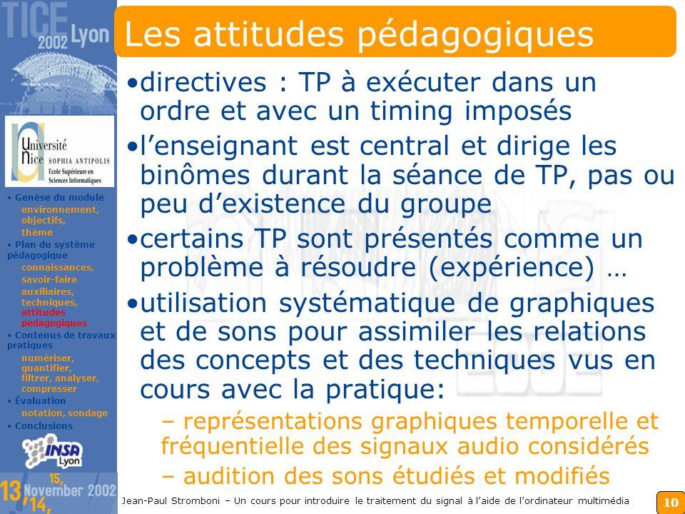 Les attitudes pédagogiques
