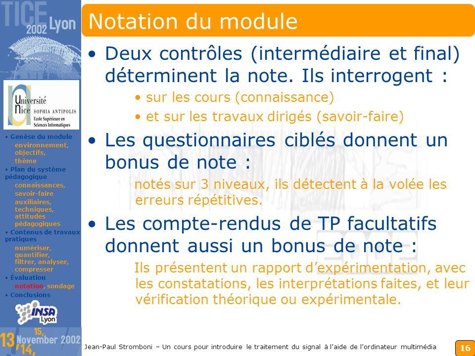 Notation du module Deux contrôles (intermédiaire et final) déterminent la note. Ils interrogent : sur les cours (connaissance)