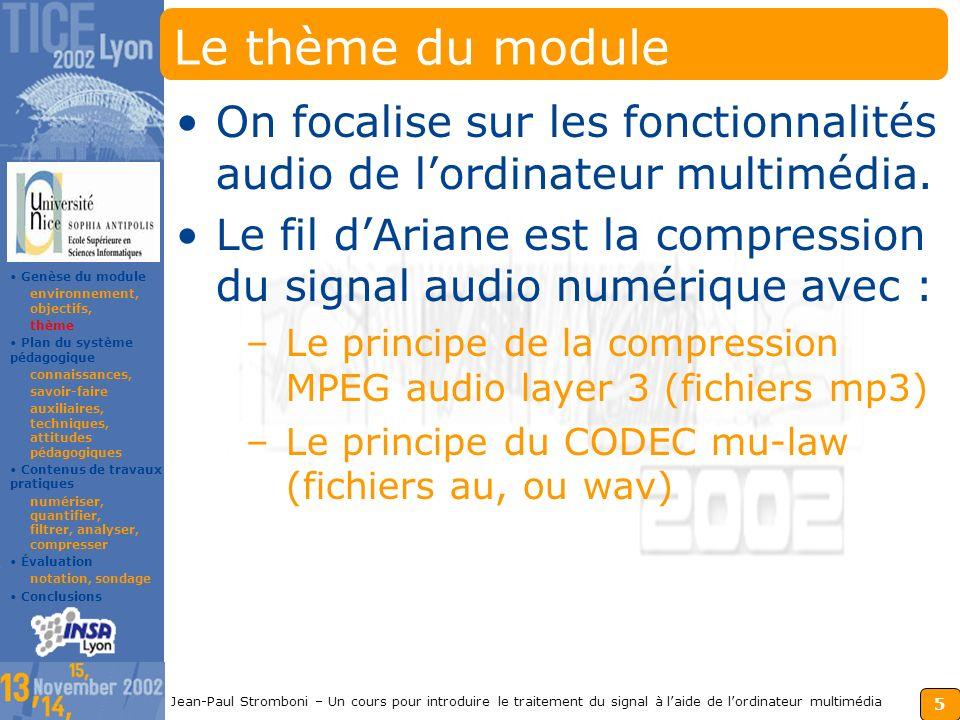 Le thème du module On focalise sur les fonctionnalités audio de l'ordinateur multimédia.