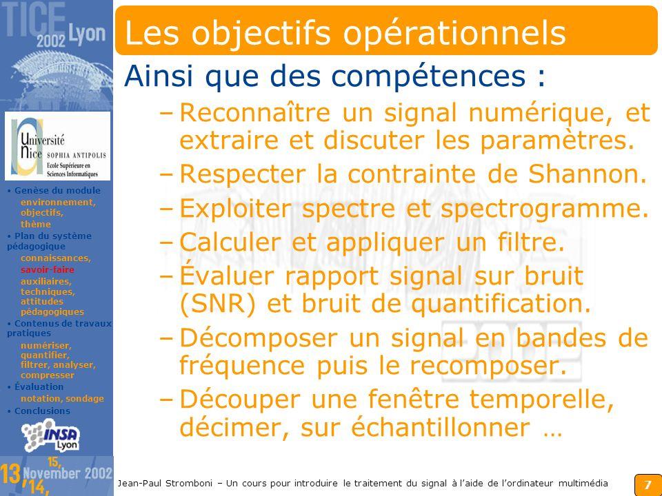 Les objectifs opérationnels