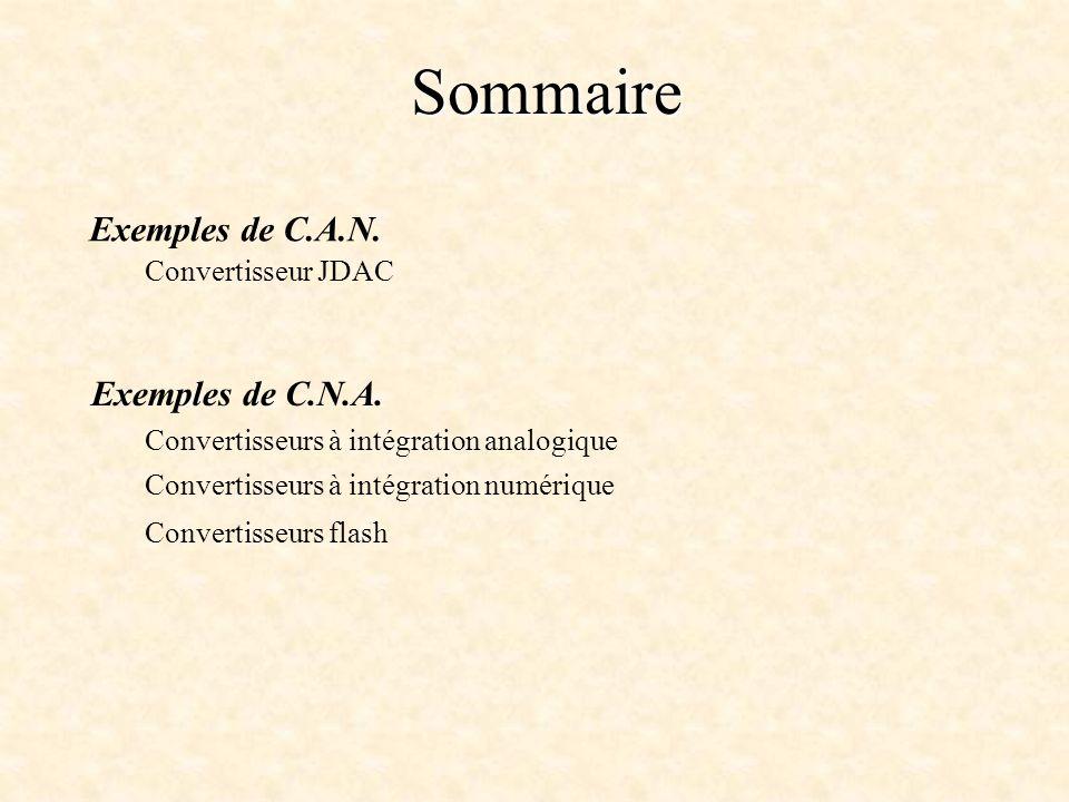 Sommaire Exemples de C.A.N. Exemples de C.N.A. Convertisseur JDAC