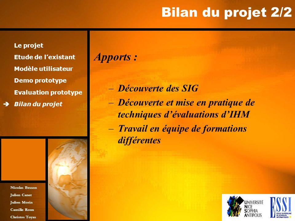 Bilan du projet 2/2 Apports : Découverte des SIG