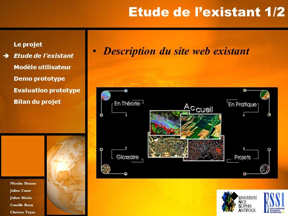 Etude de l'existant 1/2 Description du site web existant Le projet
