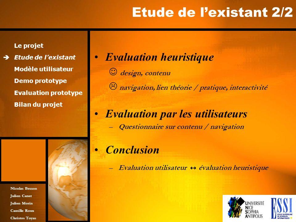 Etude de l'existant 2/2 Evaluation heuristique