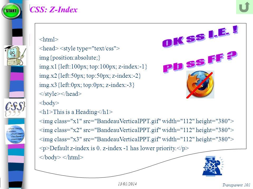 CSS: Z-Index OK ss I.E. ! Pb ss FF <html>