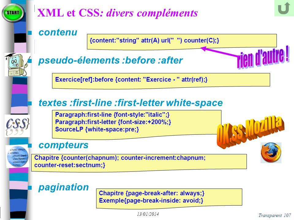 XML et CSS: divers compléments