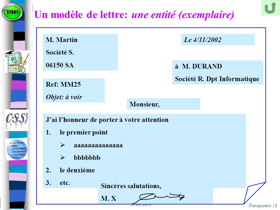 Un modèle de lettre: une entité (exemplaire)