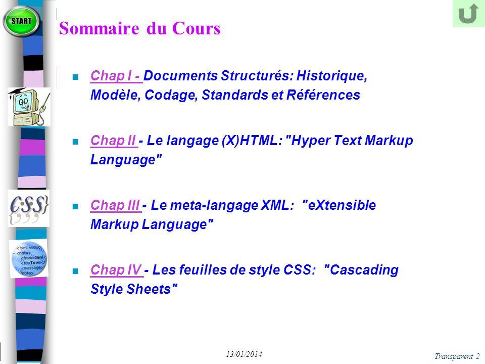 Sommaire du Cours Chap I - Documents Structurés: Historique, Modèle, Codage, Standards et Références.