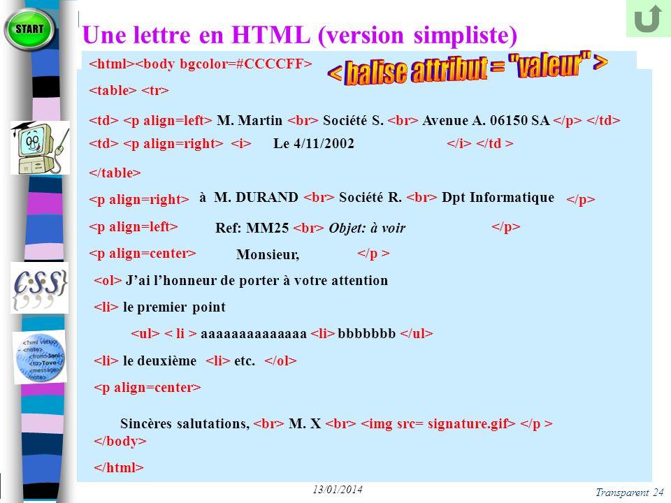 Une lettre en HTML (version simpliste)