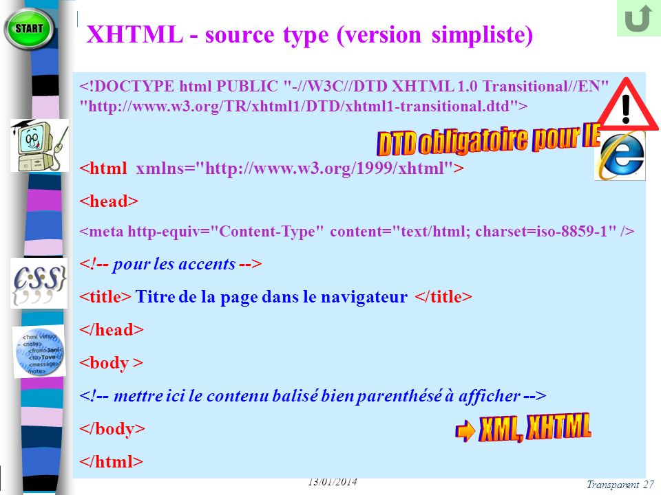 XHTML - source type (version simpliste)