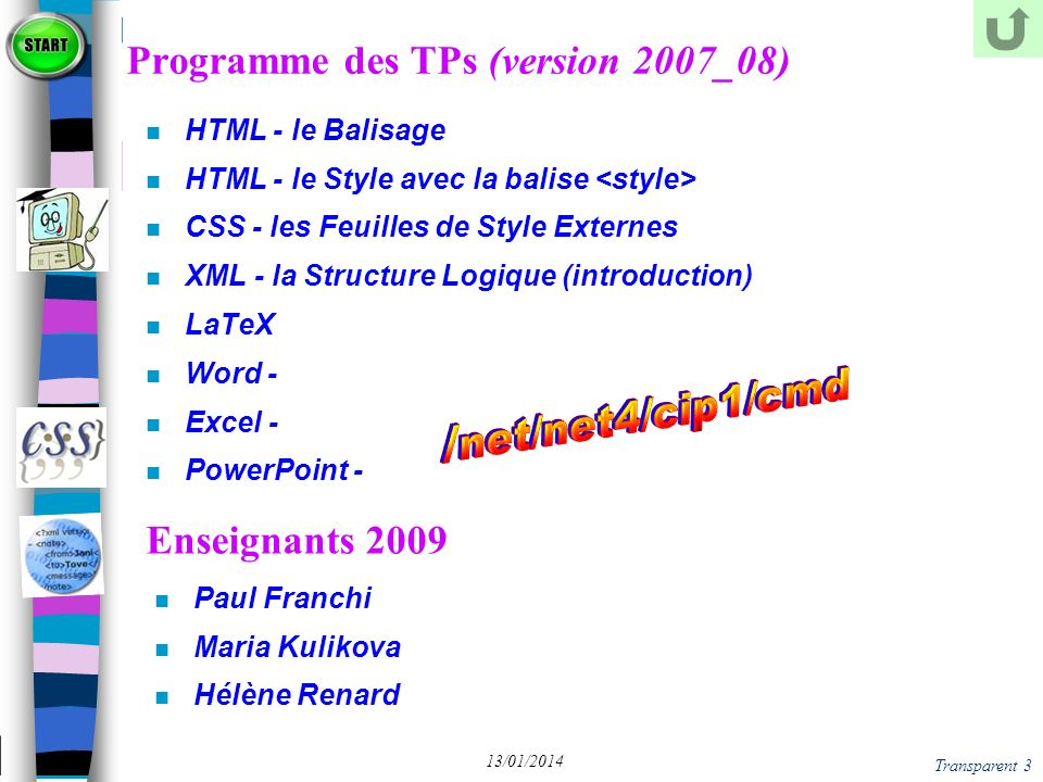 Programme des TPs (version 2007_08)