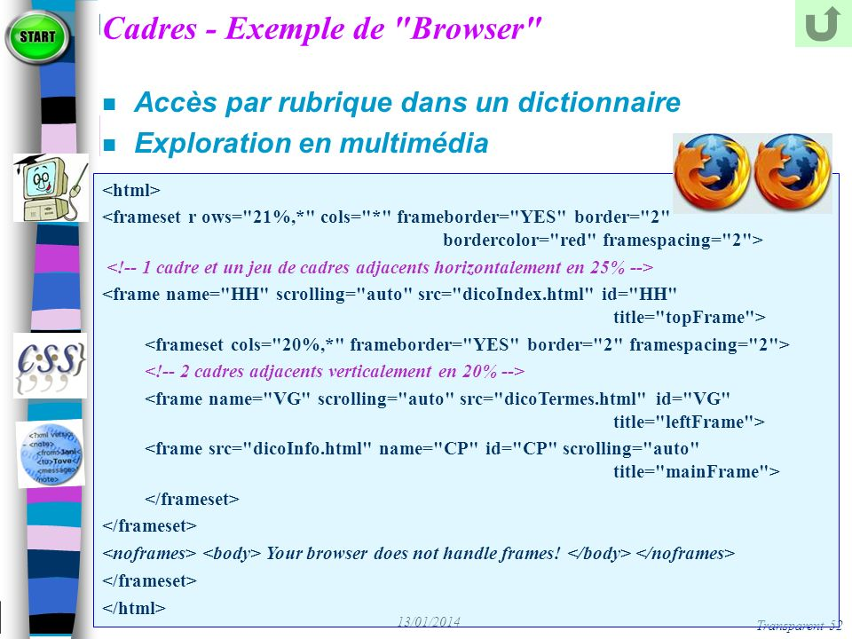 Cadres - Exemple de Browser