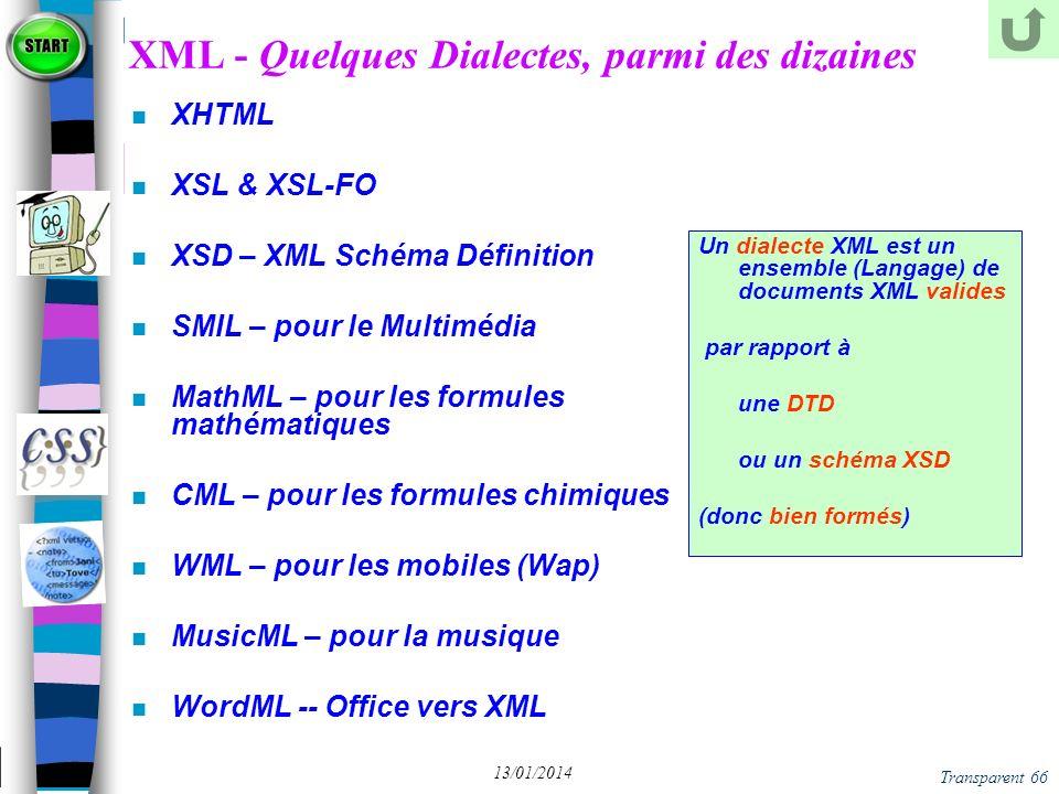 XML - Quelques Dialectes, parmi des dizaines