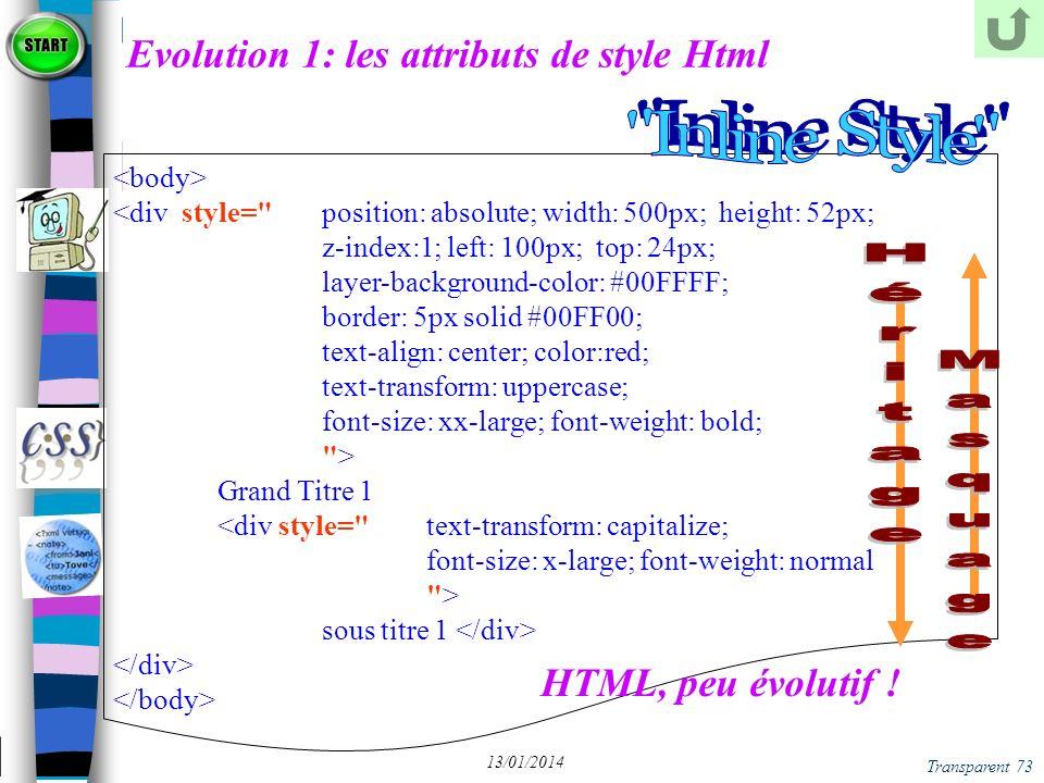 Evolution 1: les attributs de style Html