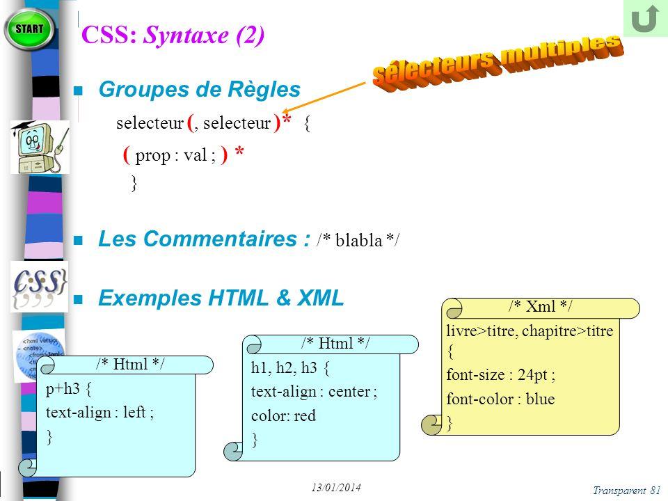 CSS: Syntaxe (2) sélecteurs multiples Groupes de Règles