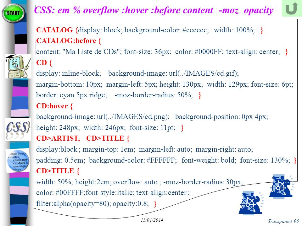 CSS: em % overflow :hover :before content -moz opacity