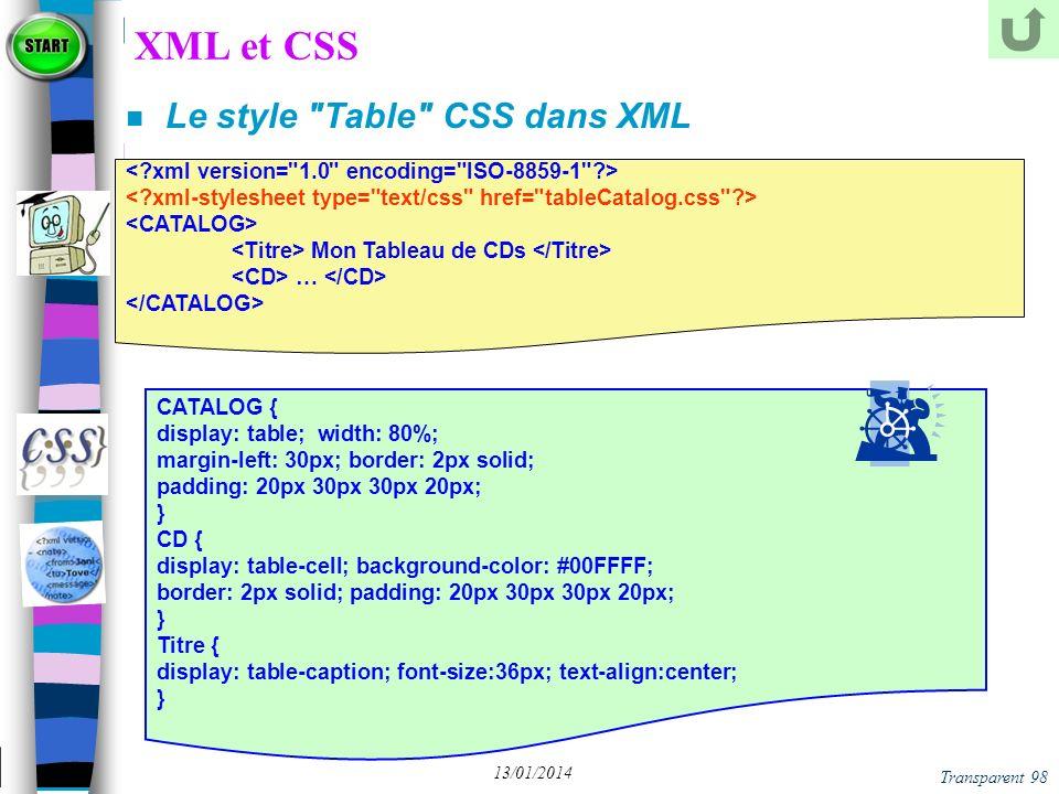 XML et CSS Le style Table CSS dans XML