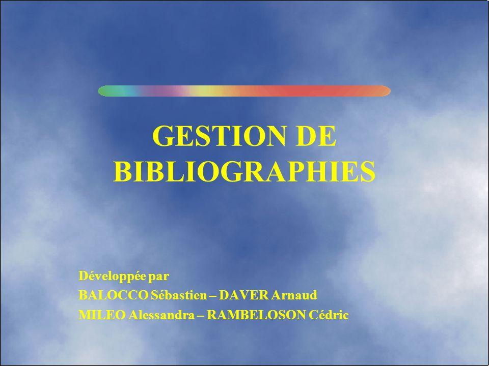 GESTION DE BIBLIOGRAPHIES