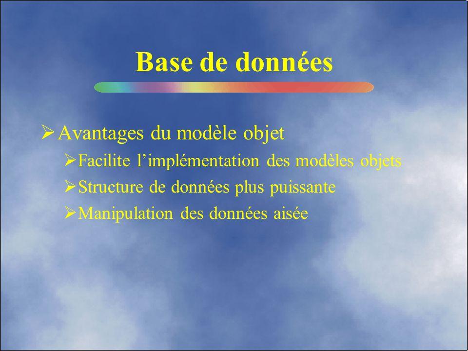Base de données Avantages du modèle objet