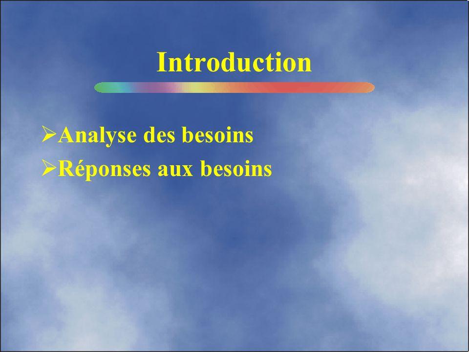 Introduction Analyse des besoins Réponses aux besoins