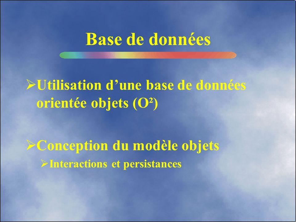 Base de données Utilisation d'une base de données orientée objets (O²)