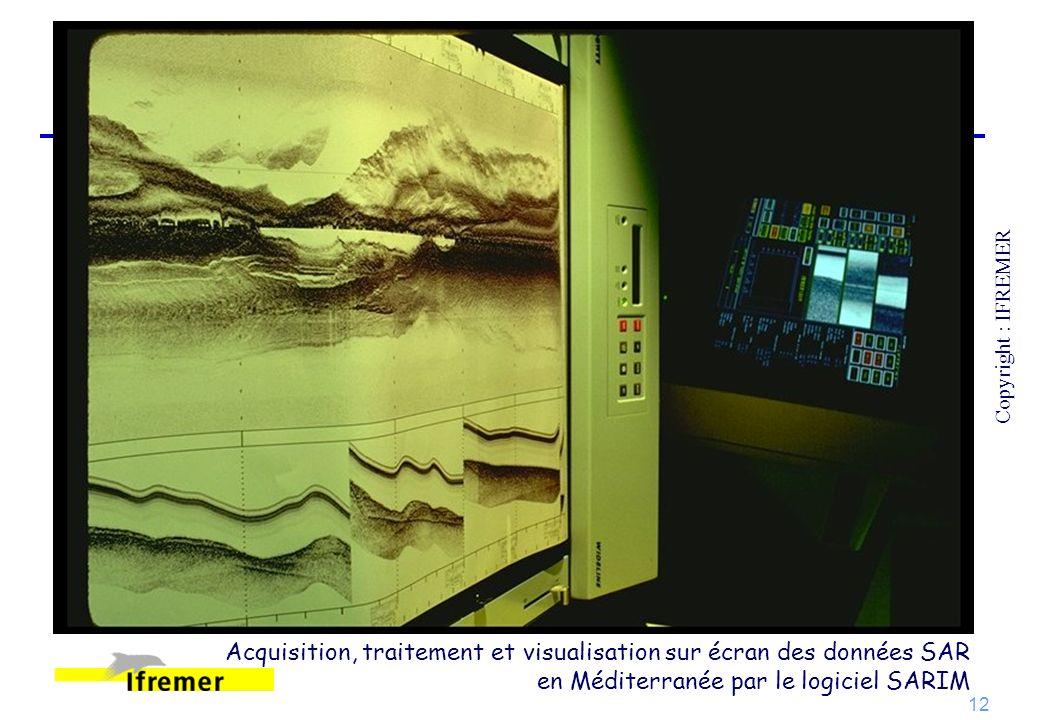 Acquisition, traitement et visualisation sur écran des données SAR
