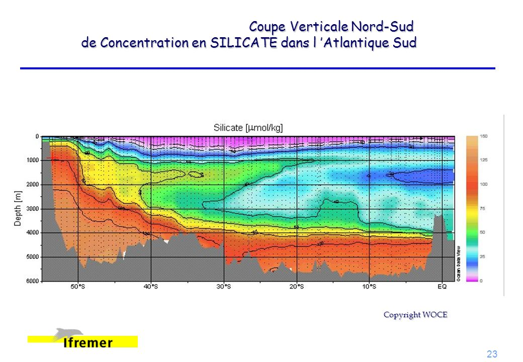 Coupe Verticale Nord-Sud de Concentration en SILICATE dans l 'Atlantique Sud