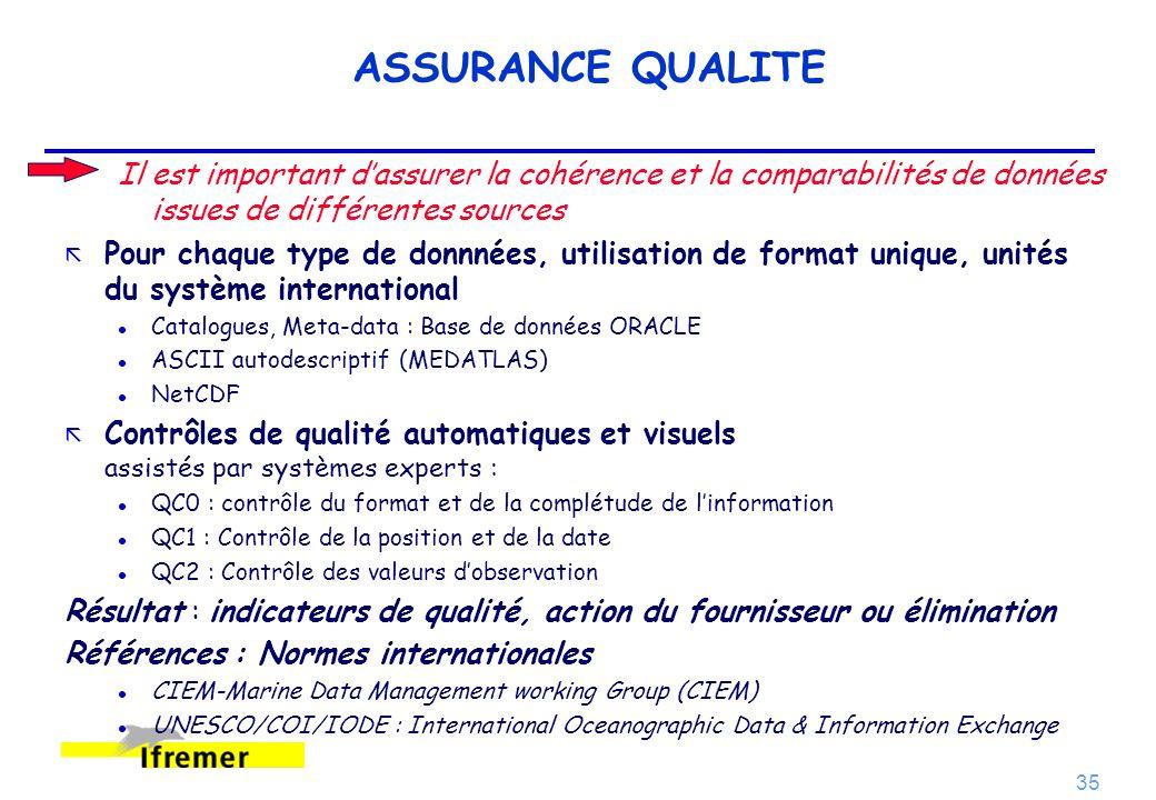 ASSURANCE QUALITE Il est important d'assurer la cohérence et la comparabilités de données issues de différentes sources.