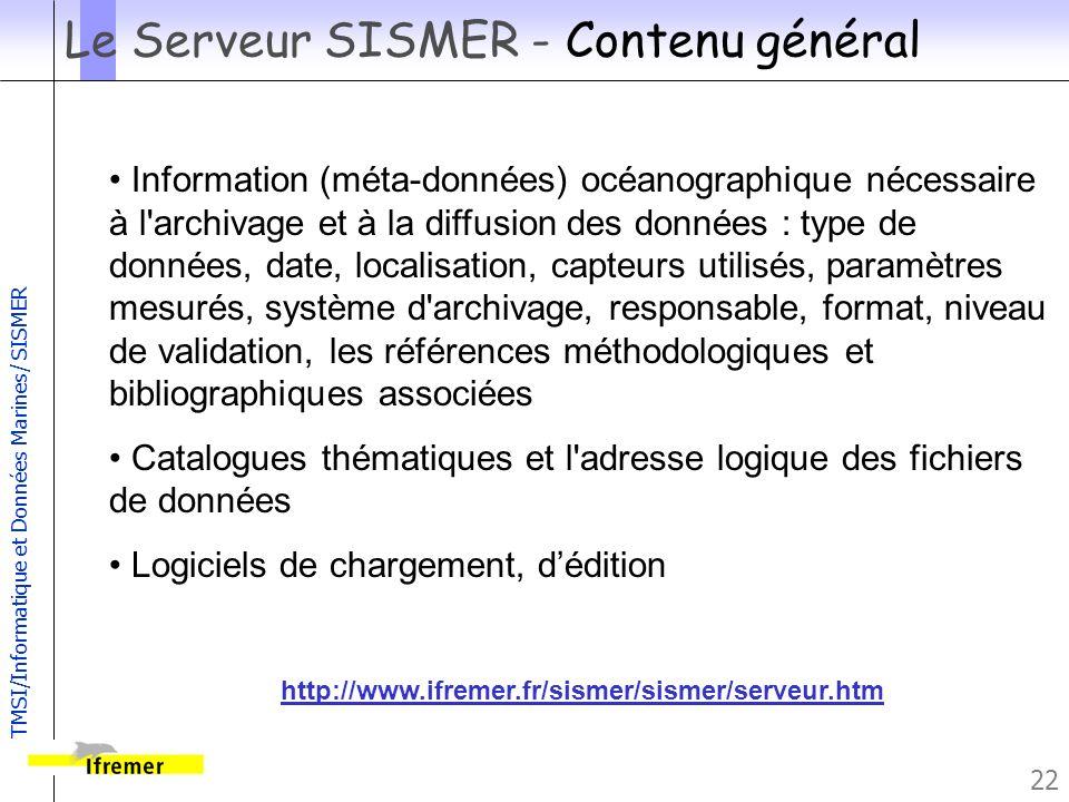 Le Serveur SISMER - Contenu général