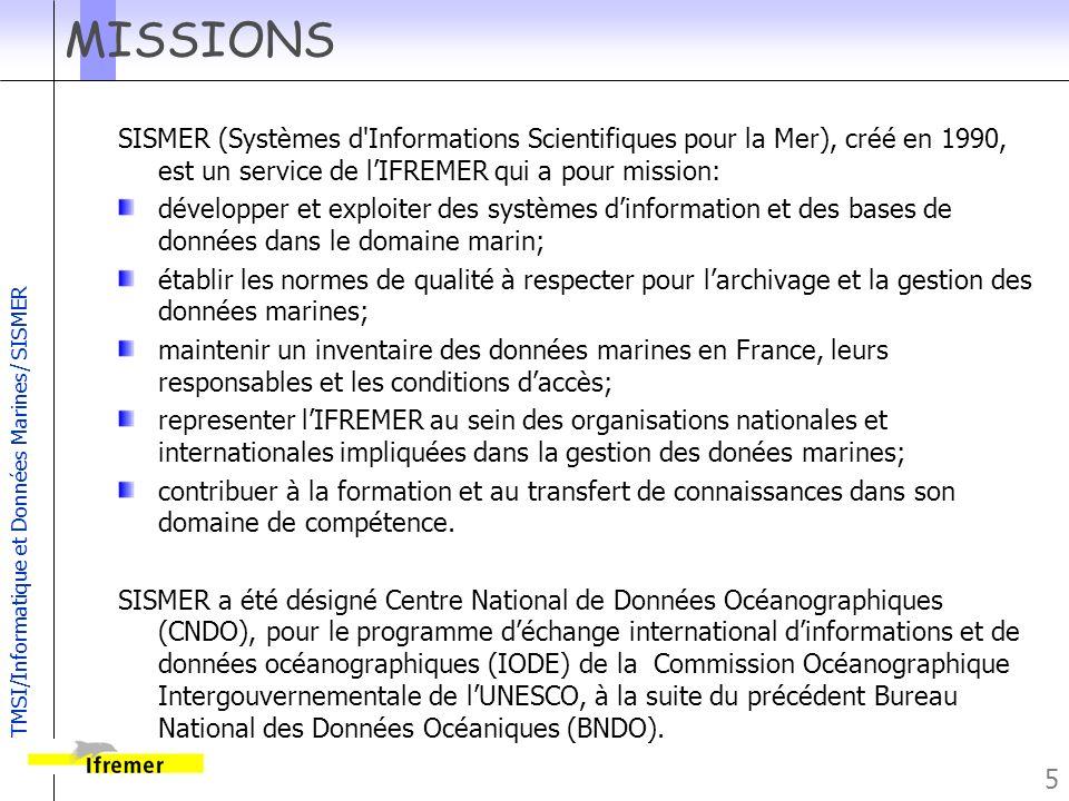 MISSIONS SISMER (Systèmes d Informations Scientifiques pour la Mer), créé en 1990, est un service de l'IFREMER qui a pour mission: