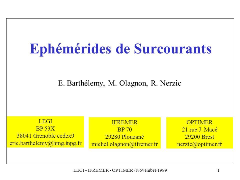 Ephémérides de Surcourants