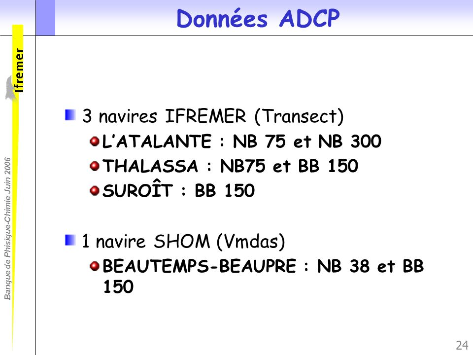 Données ADCP 3 navires IFREMER (Transect) 1 navire SHOM (Vmdas)