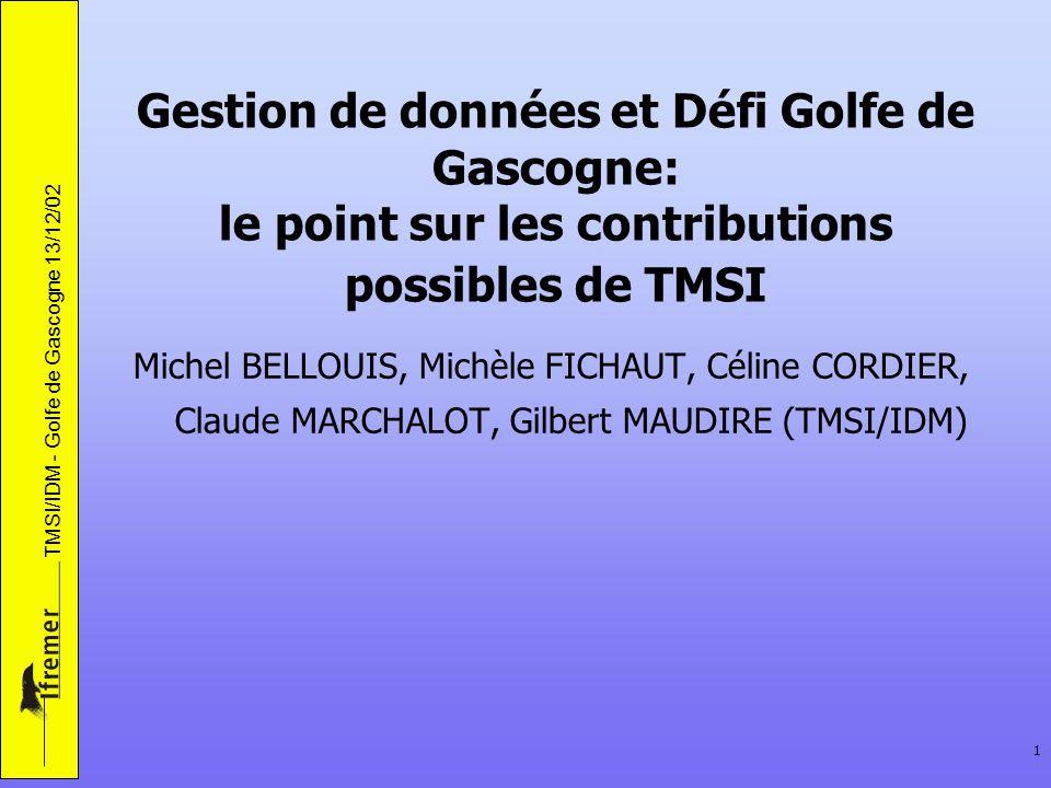 Gestion de données et Défi Golfe de Gascogne: le point sur les contributions possibles de TMSI