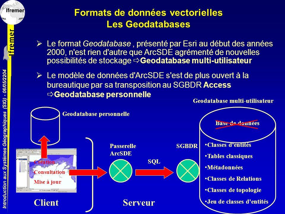 Formats de données vectorielles Les Geodatabases