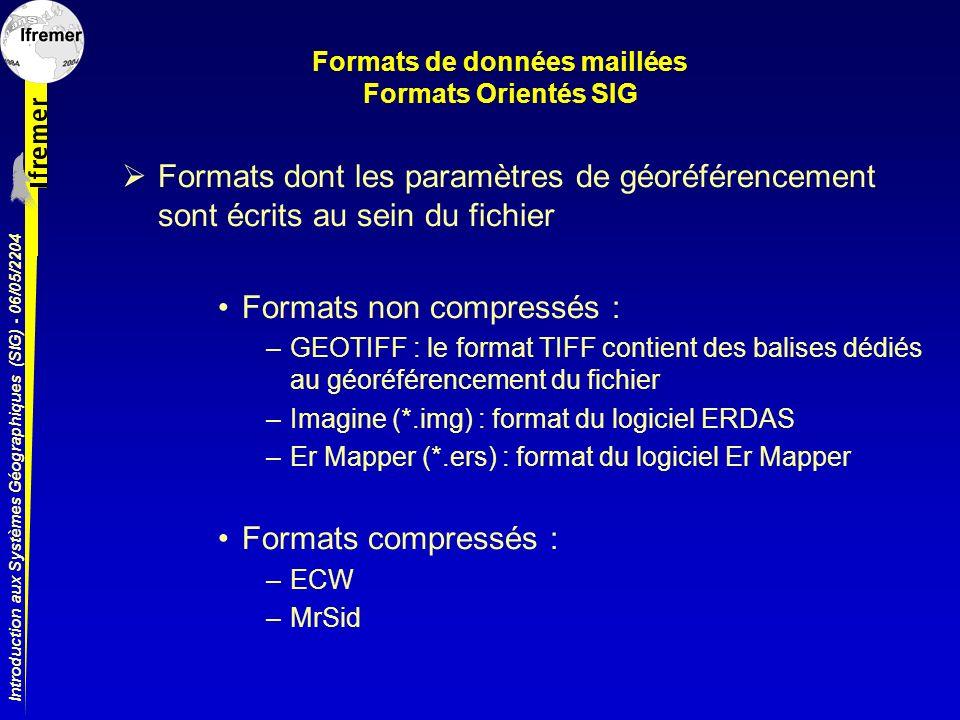 Formats de données maillées Formats Orientés SIG