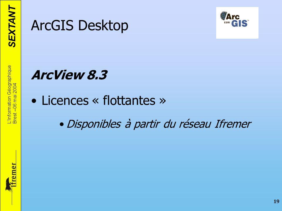 ArcGIS Desktop ArcView 8.3 Licences « flottantes »