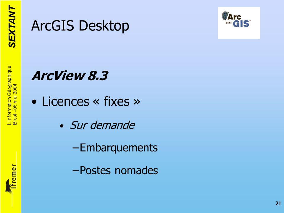 ArcGIS Desktop ArcView 8.3 Licences « fixes » Embarquements