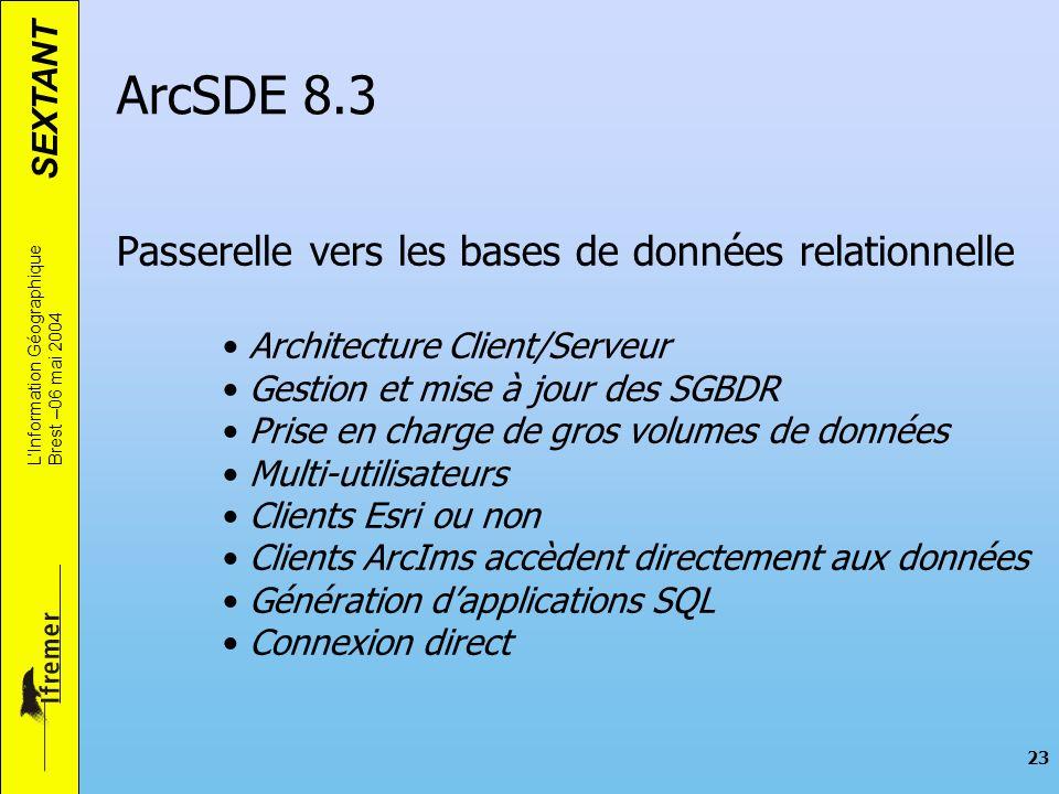 ArcSDE 8.3 Passerelle vers les bases de données relationnelle
