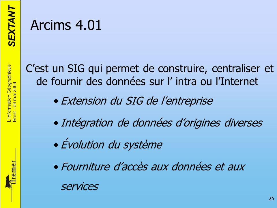 Arcims 4.01 C'est un SIG qui permet de construire, centraliser et de fournir des données sur l' intra ou l'Internet.