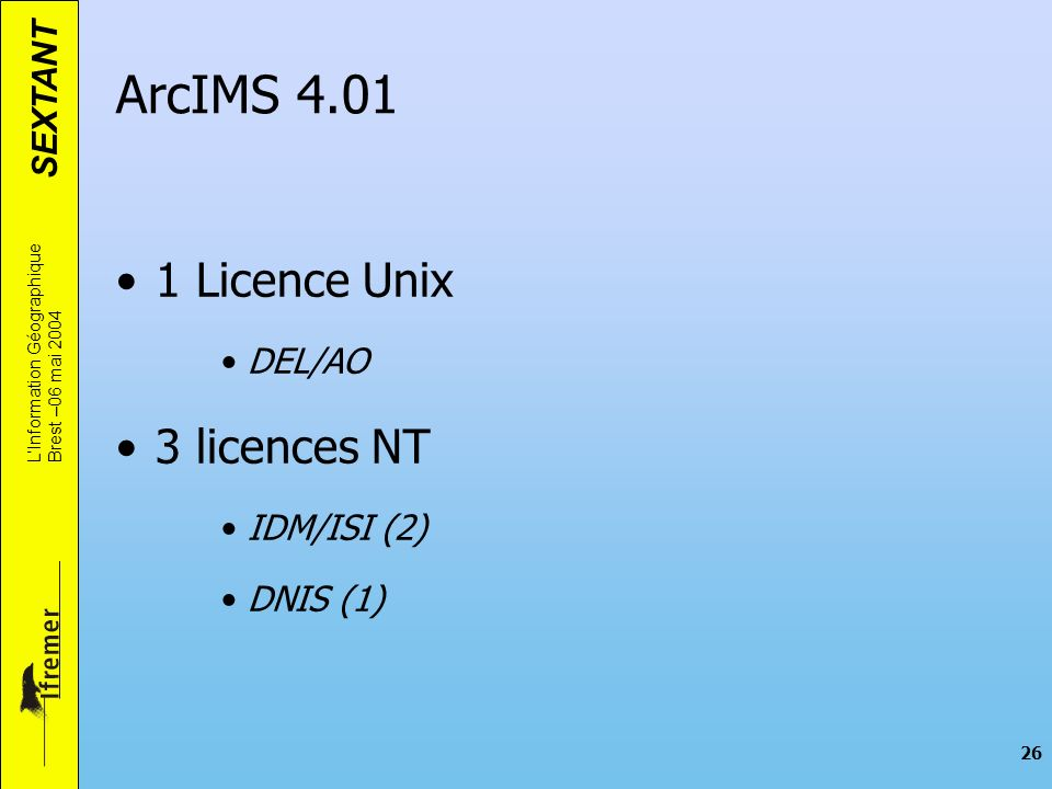ArcIMS 4.01 1 Licence Unix 3 licences NT DEL/AO IDM/ISI (2) DNIS (1)
