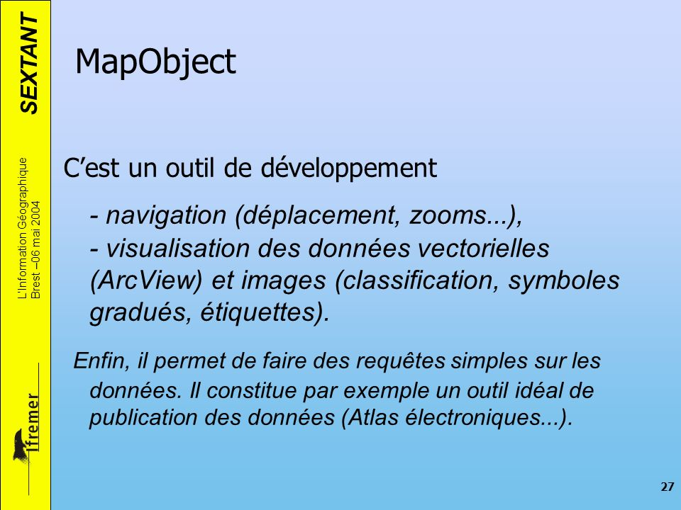 MapObjectC'est un outil de développement.