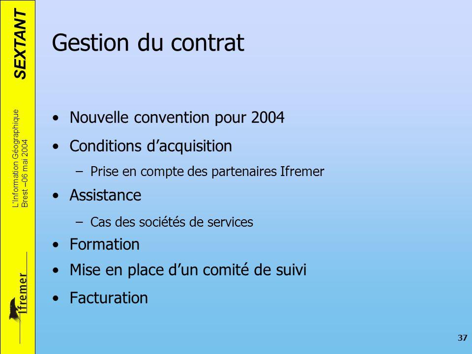 Gestion du contrat Nouvelle convention pour 2004