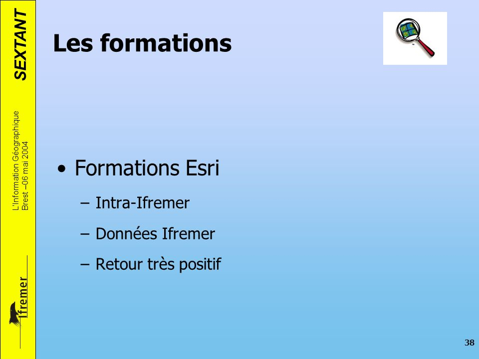 Les formations Formations Esri Intra-Ifremer Données Ifremer