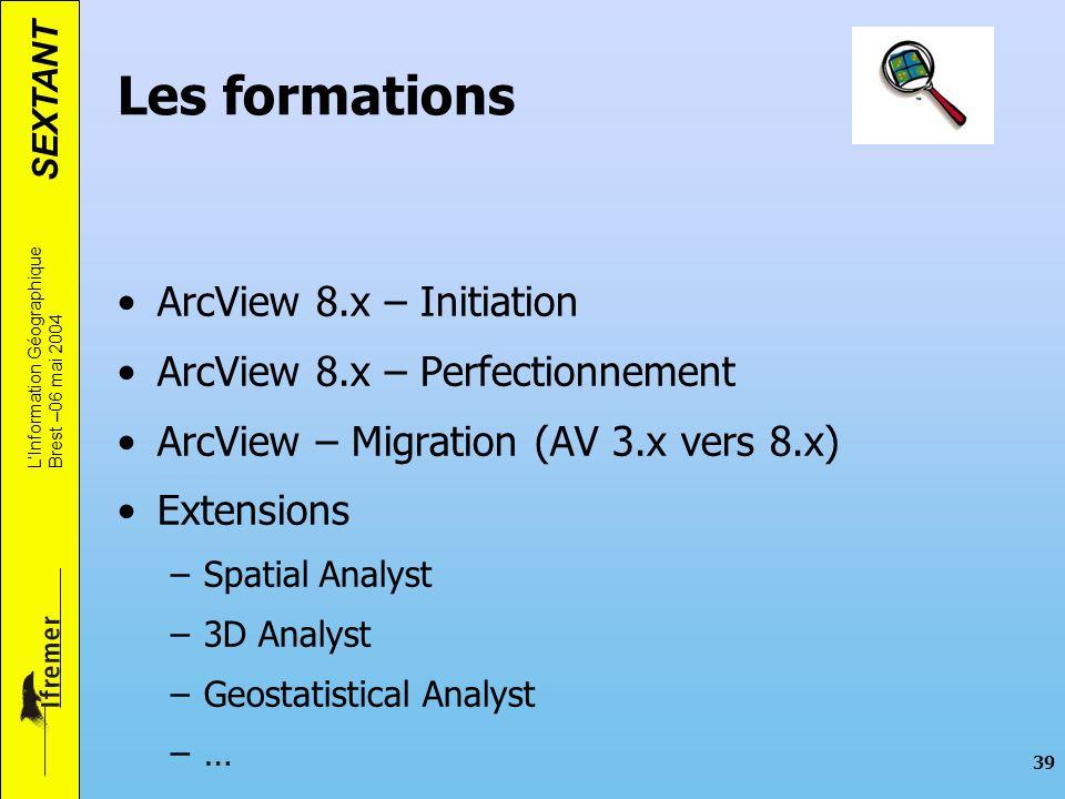 Les formations ArcView 8.x – Initiation ArcView 8.x – Perfectionnement